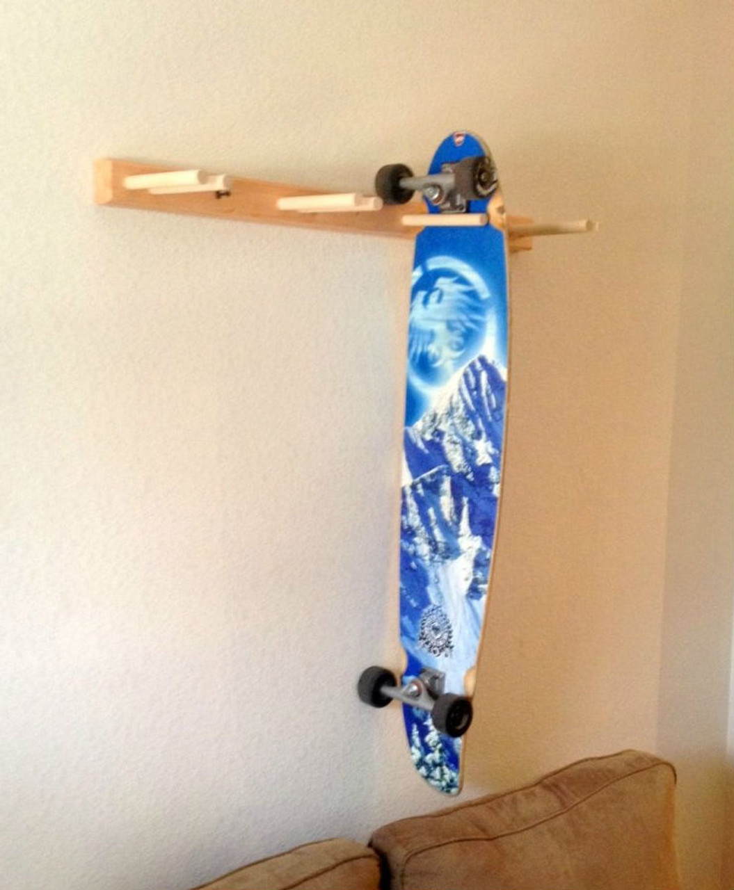 vertical skateboard rack wood board hanger storeyourboard com