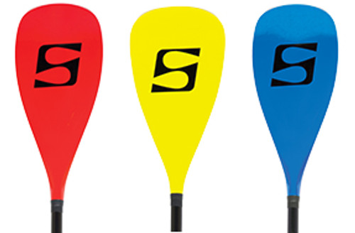 red yellow and blue paddleboard paddles