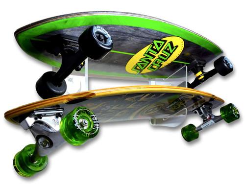 Clear Acrylic Skateboard Wall Rack | Holds 2 Skateboards