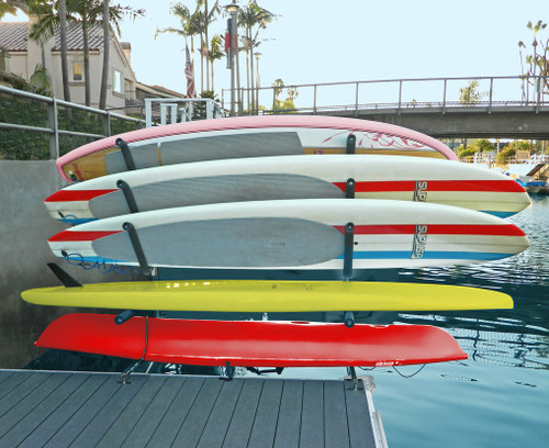kayak and paddleboard dock rack mounted over water