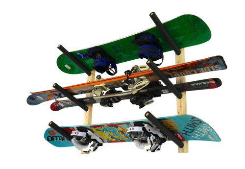 triple ski and snowboard rack