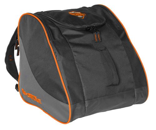 orange boot and gear backpack