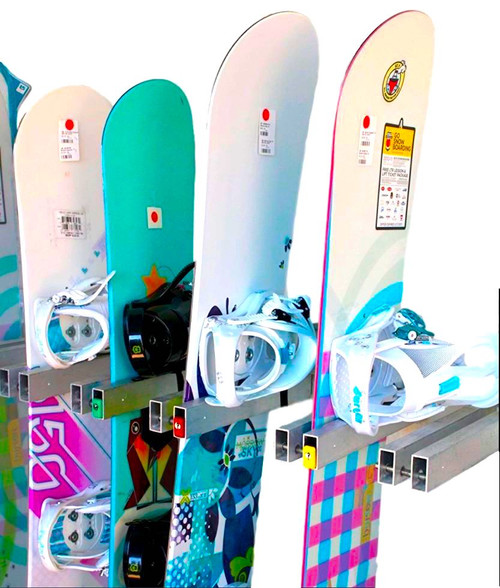 Locking Snowboard Wall Rack | 5 Boards | Ski Resort Rack