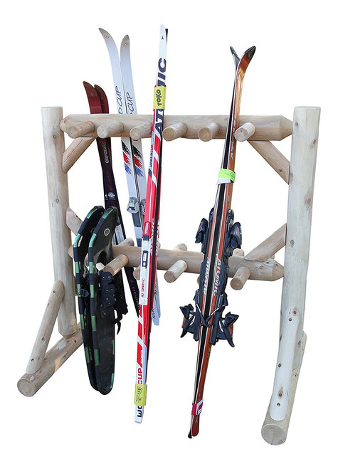 log rack for skis and snowshoes