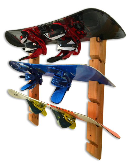 Handcrafted Cedar Wall Rack | 6 Snowboards | Double Mount
