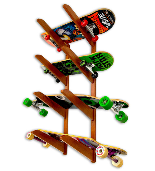 Timber Wood Longboard Wall Rack   Solid Oak   Holds up to 4 Longboards