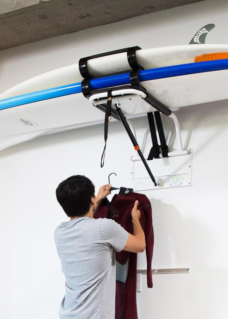 Hydraulic Surfboard Lift | Surfboard Wall and Ceiling Storage
