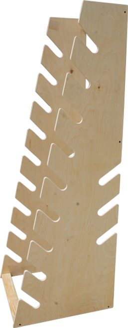 wood standing longboard rack