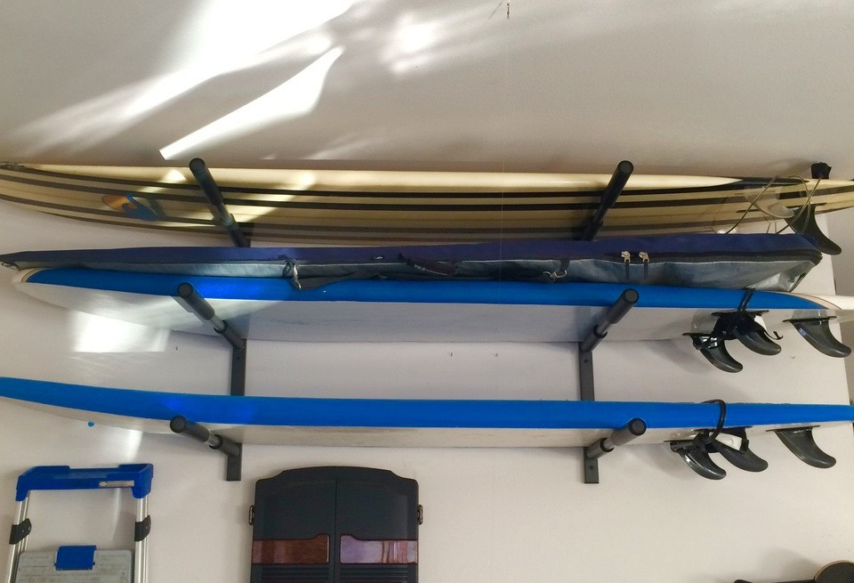 surfboard triple storage and display rack & Surf Storage Rack | 3 Boards | Heavy Duty Metal - StoreYourBoard.com