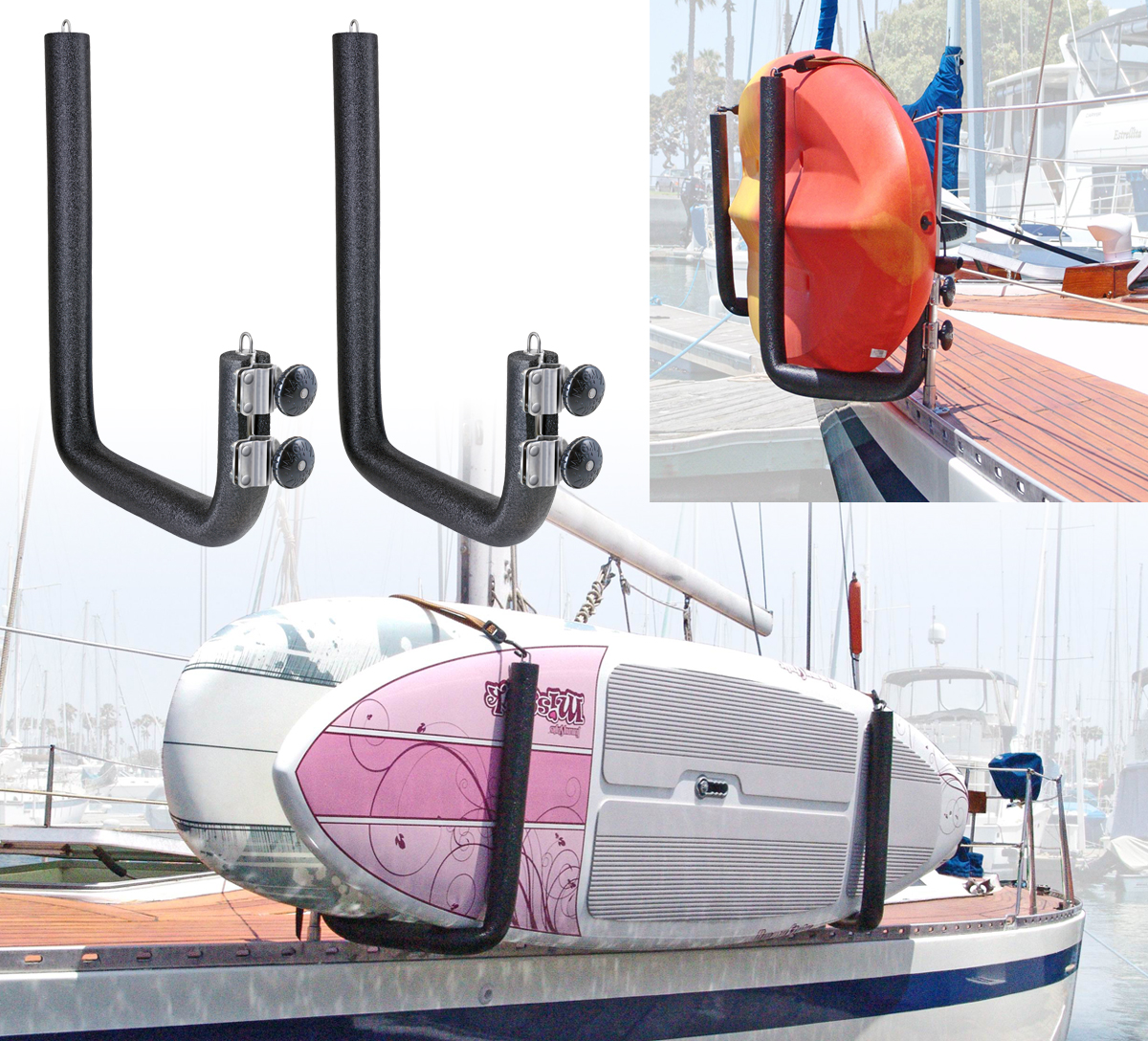 Rail Mounted Kayak Rack For Boats Stainless Steel