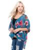 Petalroz Top - Floral Top, Dolman Sleeve