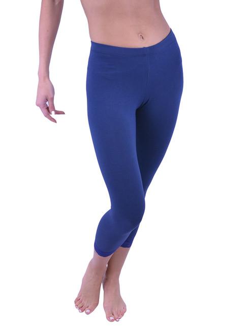 Vivian's Fashions Capri Leggings - Cotton, Lace Trim (Junior/Junior Plus Sizes)