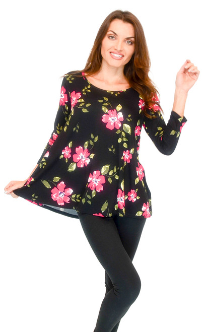 Vivian's Fashions Top - 3/4 Sleeve, Floral Print