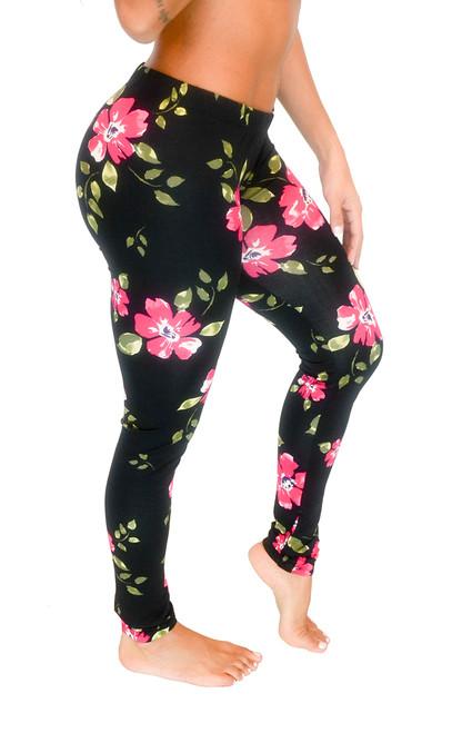 Vivian's Fashions Long Leggings - Floral Design (Junior and Junior Plus Sizes)