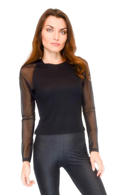Vivian's Fashions Top - Raglan Mesh Sleeve Top