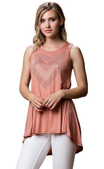 Vocal Top - Tunic Tank Top with Rhinestones, Sleeveless
