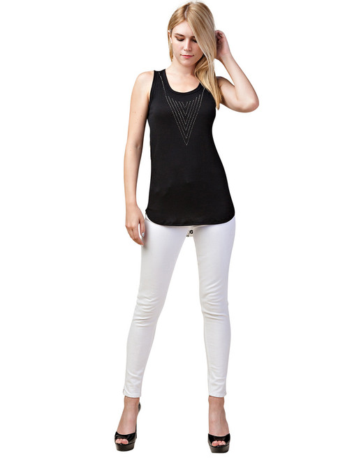 Vocal Top - Tank Top with Rhinestones, Sleeveless