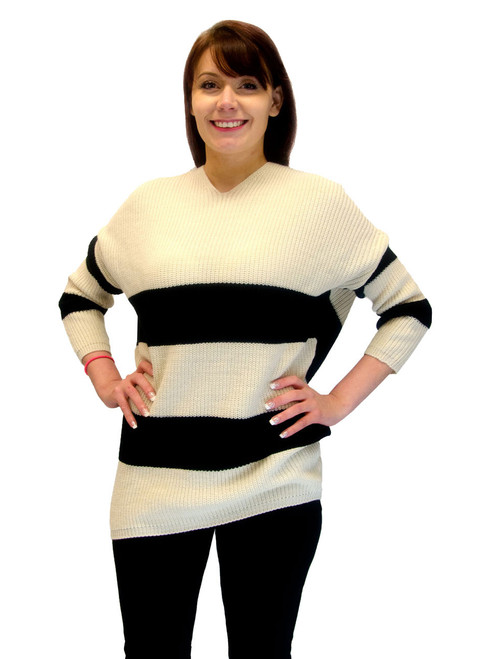 Sweater - Striped Sweater, Beige with Black Stripes