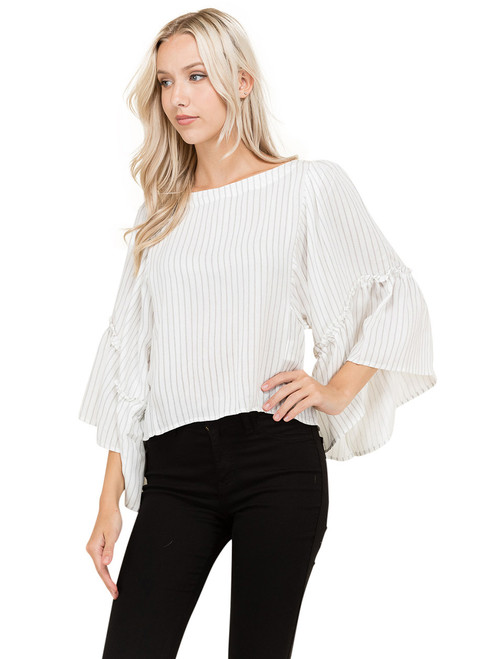Petalroz Top - Stripe Top, Ruffle Sleeves
