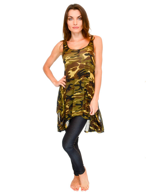 Women's Top - Handkerchief Tank with Camouflage Print