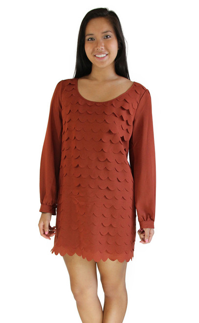 Women's Dress - Scallop Cut Texture Dress, Long Sleeves