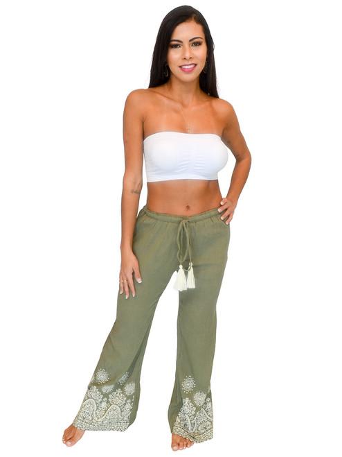 Women's Pants - Embossing Print, Wide Legs