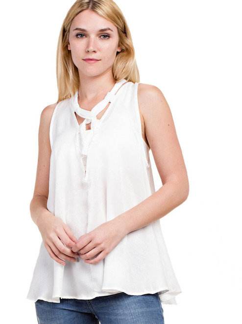 Vocal Top - Top with Satin Lace-Up Detail, Sleeveless