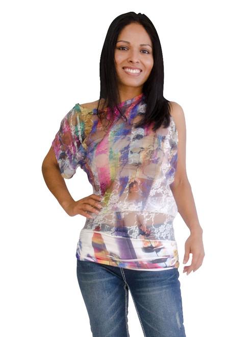Women's Top - Lace Top, Unbalance Sleeve