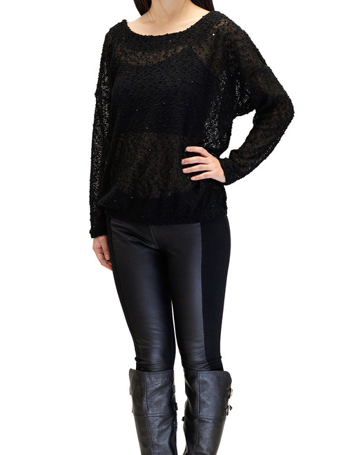 Women's Sweater - Knit Sweater, Black Sequined