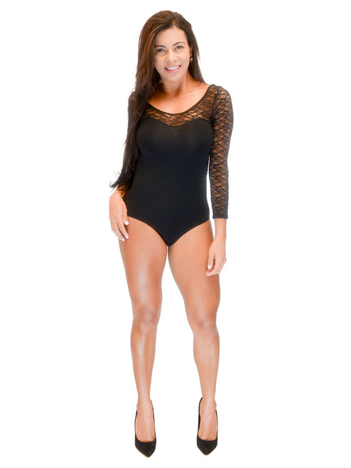 Vivian's Fashions Top - Lace Bodysuit, Long Sleeve