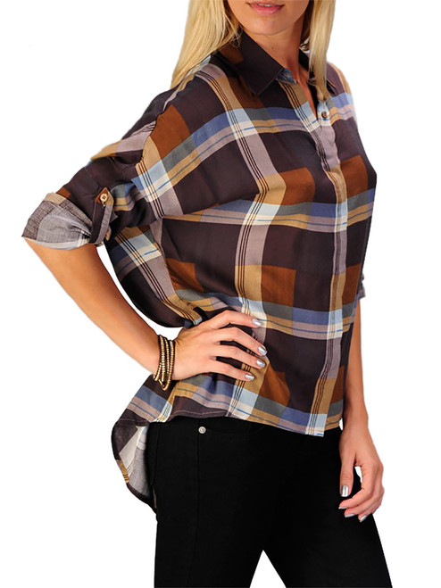 Women's Top - Checker Print Top