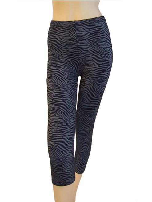 Vivian's Fashions Capri Leggings - Blue Zebra Print (Junior Size)