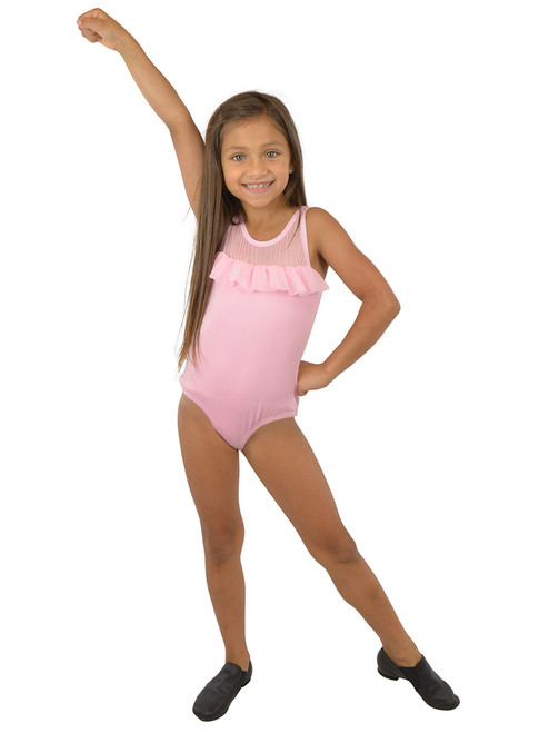 Vivian's Fashions Dancewear - Girls Mesh Ruffle Sleeveless Leotard
