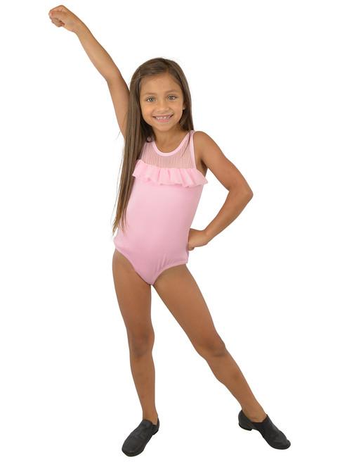 Vivian's Fashions Dancewear - Girls Mesh Ruffle Sleeveless Leotard