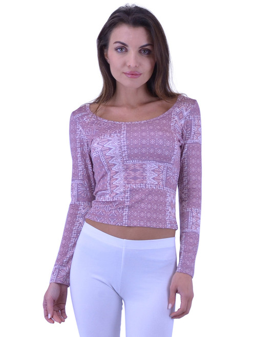Vivian's Fashions Top - Printed Crop Top, Long Sleeves