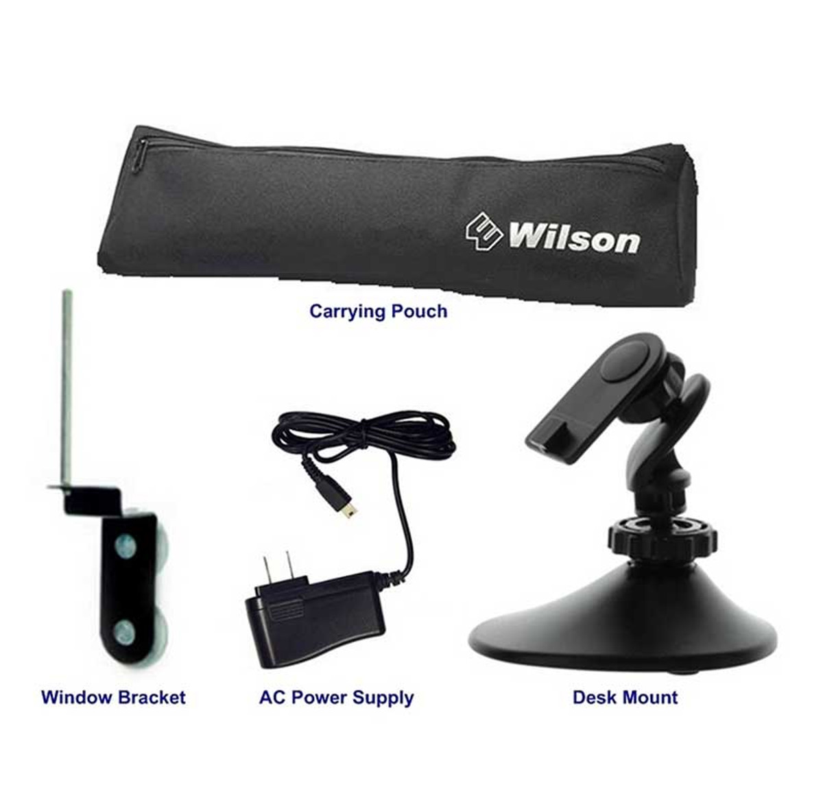 Wilson 859970 Home & Office Accessory Kit for use with Sleek amplifiers, window suction cup mount for magnet-mount antenna, 5V AC power supply, zippered carrying case, and adjustable desk mount
