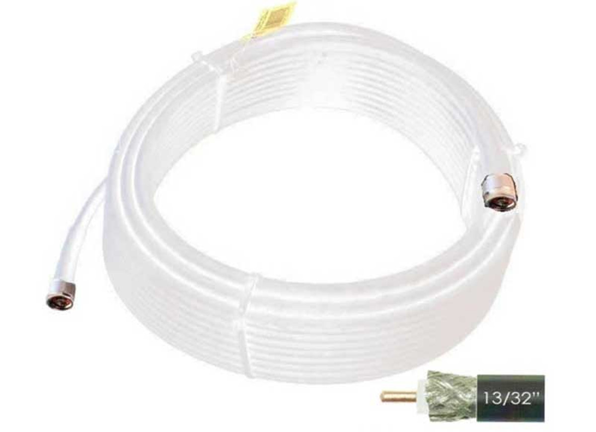 Wilson 952475 75-Foot WILSON400 Ultra Low-Loss Coaxial Cable Male-Male - White,