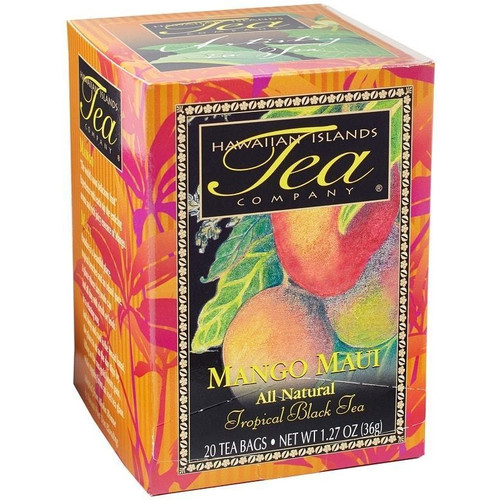 Box containing twenty bags of Mango Maui Black Tea.
