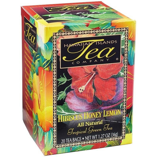 Box containing twenty bags of Hibiscus Honey Lemon Green Tea