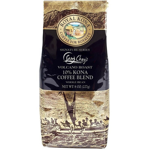 One eight ounce bag of Royal Kona Sam Choy's volcano roast, ten percent Kona Coffee blend, ground. Brown and gold bag.