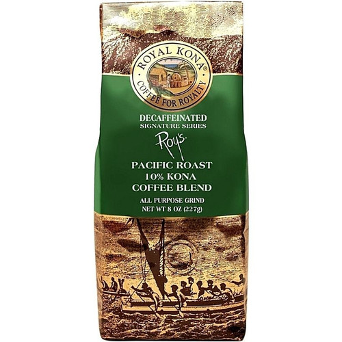 One eight ounce bag of Royal Kona Decaffeinated Pacific Roast ten percent Kona Coffee blend ground coffee. Brown and gold bag, green label with white text.
