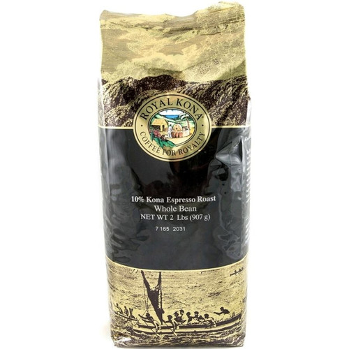 One two pound bag of Royal Kona Espresso Roast ten percent Kona whole bean coffee. Bag is gold and brown with black label.