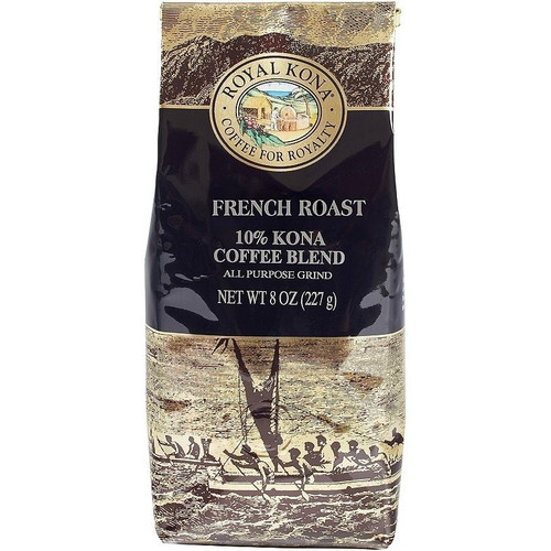 One eight ounce bag of Royal Kona French Roast ten percent Kona ground coffee. Bag is gold and brown with black label.