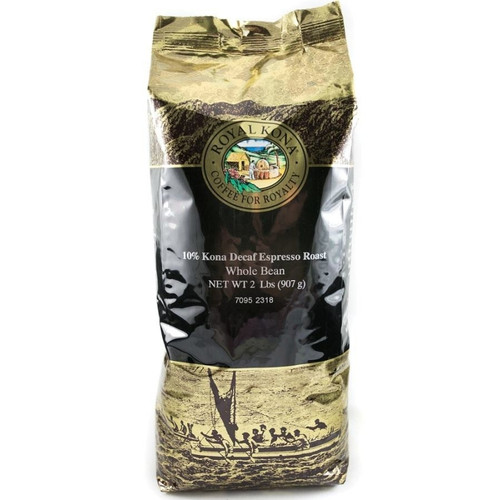 One two pound bag of Royal Kona Decaf Espresso Roast ten percent Kona whole bean coffee. Bag is gold and brown with black label.