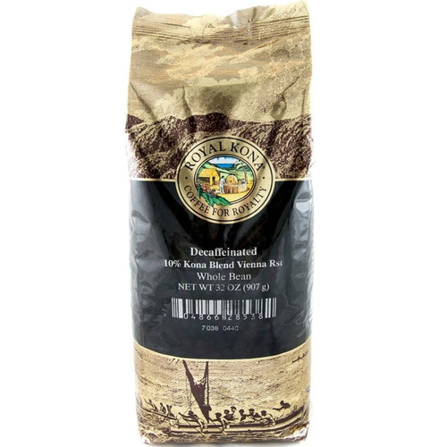 One two pound bag of Royal Kona Decaf Vienna Roast ten percent Kona whole bean coffee. Bag is gold and brown with black label.