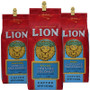 Three ten ounce bags of ground coffee including Lion toasted coconut, Lion Vanilla macadamia and Lion Chocolate Macadamia