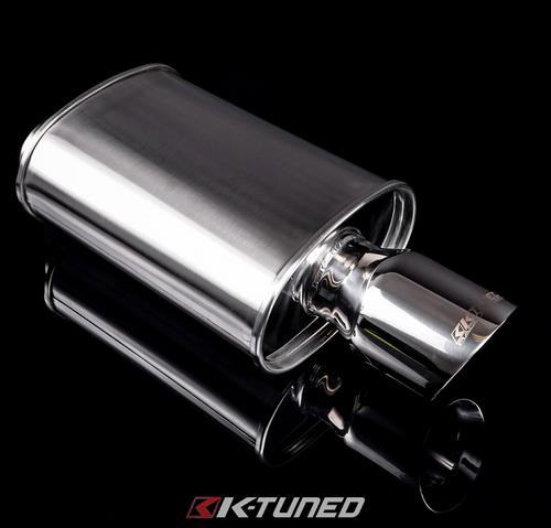 K-Tuned - Universal Muffler - Polished / Short (Offset Inlet / Center Outlet)