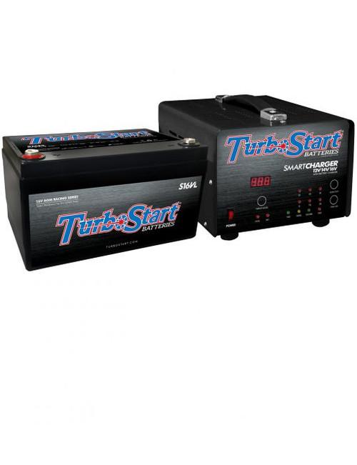 Turbostart - 16 Volt Light Weight AGM Race Battery and 110V Multi-Stage 12V/14V/16V Charger Combo Kit