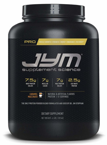 JYM Supplement Science, PRO JYM, An Optimal Blend of Whey, Casein, and Egg Proteins, Caramel Macchiato, 4lb Protein Front