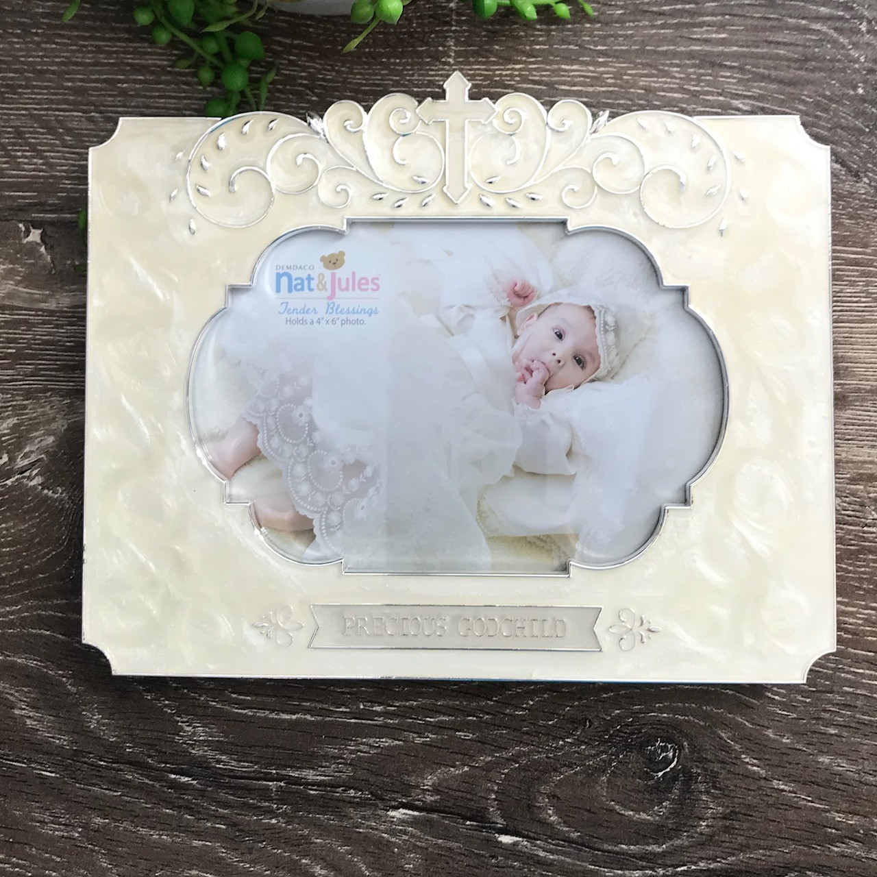Godchild White Photo Frame with Cross By Gifted Memories Faith